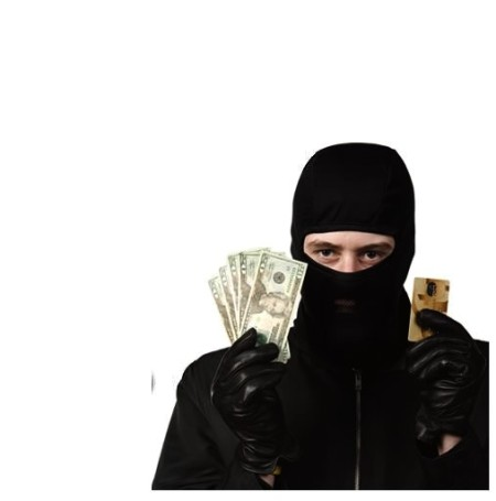 Money thief in mask